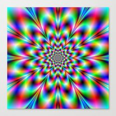 Neon Flower in Green Red and Blue Canvas Print