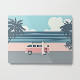 Surfer Graphic Beach Palm-Tree Camper-Van Art Metal Print