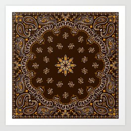Brown Bandanna Pattern Art Print
