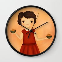 libra Wall Clocks featuring Libra by The Midnight Rabbit