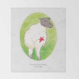 Haruki Murakami's A Wild Sheep Chase // Illustration of a Sheep with a Red Star in Watercolour Throw Blanket