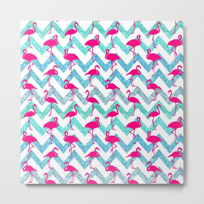 Go Flamingo! Tropical Pink Neon Flamingos Teal Glitter Chevron Metal Print