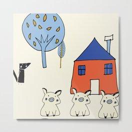 Tree Little Pigs Pearl Metal Print