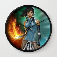 korra Wall Clocks featuring Korra by Steven H. Garcia