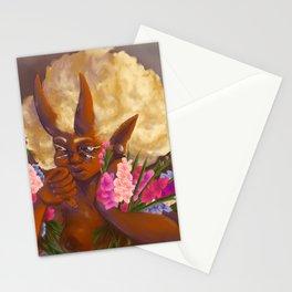 Demon holding gladioli. Stationery Cards