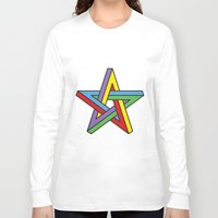 pentagram Long Sleeve T-shirts featuring Impossible Pentagram by Stephen Kemmy Graphic Designer