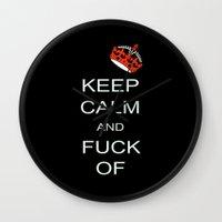 keep calm Wall Clocks featuring keep calm by laika in cosmos