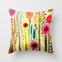 Throw Pillows featuring printemps by sylvie demers