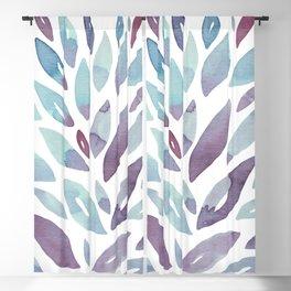 Watercolor floral petals - purple and blue Blackout Curtain