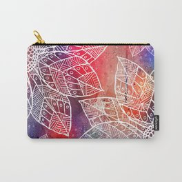 White Flowers On Colored Paint Carry-All Pouch