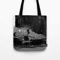 astronomy Tote Bags featuring Astronomy Jim by Allie Morris