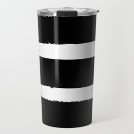 Black & White Paint Stripes by Friztin Travel Mug