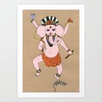 ganesha Art Prints featuring Ganesha by Erika Rier
