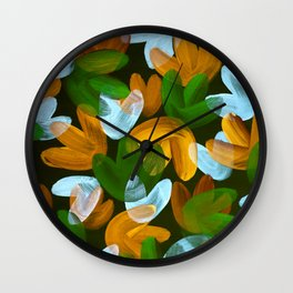 Vibrant Acrylic Painting Layered Tulips Floral Pattern Multi Colors Green White Brown Wall Clock