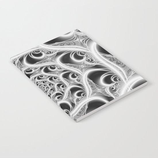 Fractal Web White on Black Notebook