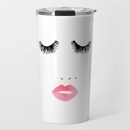 Printable Art,Makeup Print,Makeup Illustration,Lips Print,Lashes Art,Gift For Her,Bedroom Decor Travel Mug