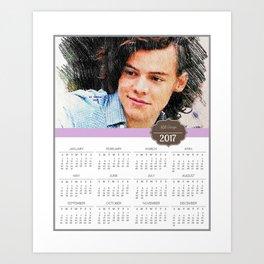 Harry Styles, One Direction, 1D, 1dFanArt, 2017 Calendar, Calendar, 2017 Art Print