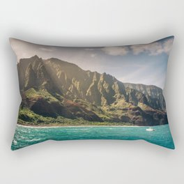 Na Pali Coast Kauai Hawaii Printable Wall Art | Tropical Beach Nature Ocean Coastal Travel Photography Print Rectangular Pillow