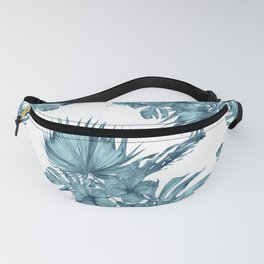 Tropical Palm Leaves Hibiscus Flowers Blue Fanny Pack