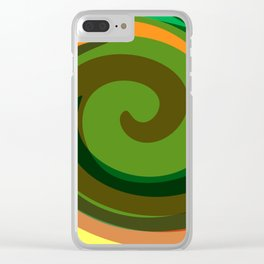 Liquid Abstract Green Swirl Clear iPhone Case
