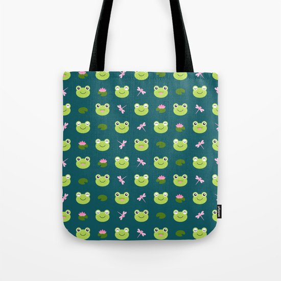 Frogs, Dragonflies and Lilypads on Teal Tote Bag