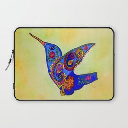 humming bird in color with green-yellow back ground Laptop Sleeve