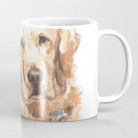 golden retriever Mugs featuring Golden Retriever  by ali_grace_gal