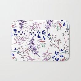 Watercolor navy blue pink tropical berries floral Bath Mat