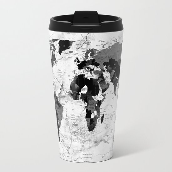 world map political marble Metal Travel Mug