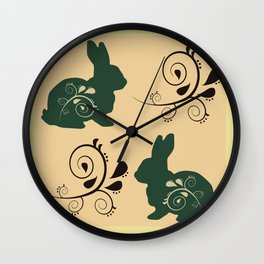 Easter bunnies with flowers pattern - detail delicate version Wall Clock