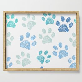Blue colored paw print background Serving Tray