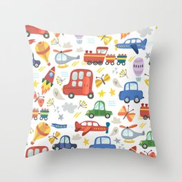 Transportation Pattern with Planes, Cars, Helicopters, and Hot Air Balloons. Throw Pillow