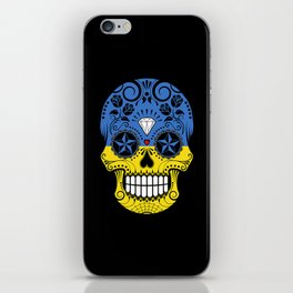 Sugar Skull with Roses and Flag of Ukraine iPhone Skin