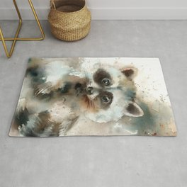 Racoon Colorful Watercolor Loose Style Painting Rug