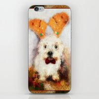 westie iPhone & iPod Skins featuring Merry Christmas Happy Holiday Westie by Ginkelmier
