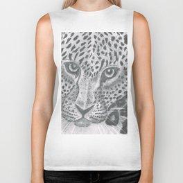 Leopard in black and white Biker Tank