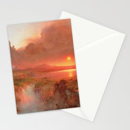 Ecuadorian Andes at Sunset, Cotopaxi volcano plains landscape painting by Frederic Edwin Church Stationery Cards