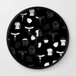 beer sausages pattern Wall Clock