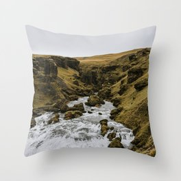 South Iceland Skogafoss river landscape photography. Travel photo-art Throw Pillow