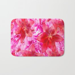 Peony And Lily Flower Bouquet In Vibrant Pink And Red Colors #decor #society6 #homedecor Bath Mat