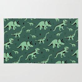 Dinosaur jungle love quirky creatures illustration Rug