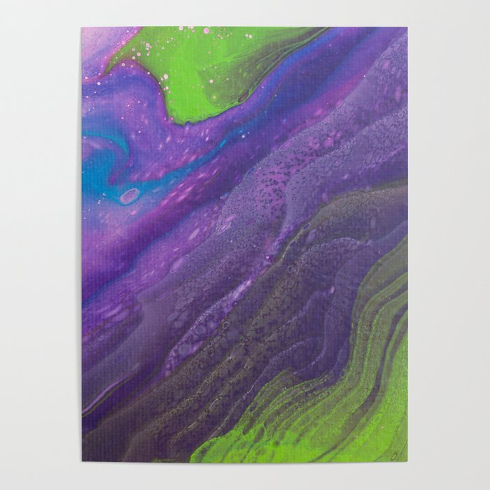 Fluid Art Acrylic Painting Pour 29 Lime Green Purple Blue Blended Color Poster By Pipafineart