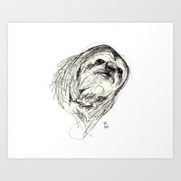sloth Art Prints featuring Sloth by Ursula Rodgers