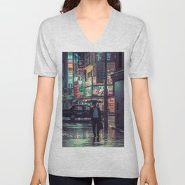 The Smiling Man // Rainy Tokyo Nights Unisex V-Neck
