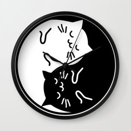 Cute cats Yin Yang sign Wall Clock