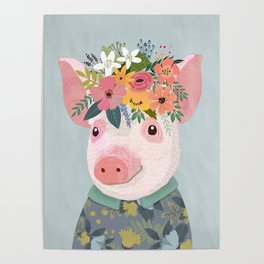 Pig with floral crown, farm animal Poster