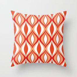 Mid-Century Modern Diamonds, Orange and White Throw Pillow