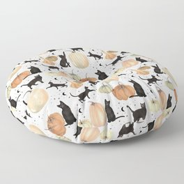Black Cats Pumpkin Patch Fall Halloween Pattern Floor Pillow