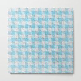 Light Sky Blue Buffalo Plaid Metal Print