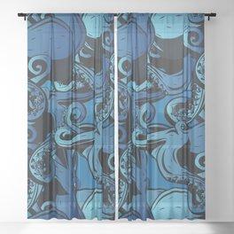 Blue Octopus Pattern Sheer Curtain